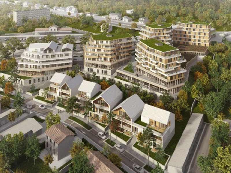 Plan en vue aérienne de la ZAC Yebles en Savoie, concours gagné par Korell - économiste de la construction.